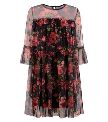 Blue Vanilla Black Mesh Floral Print Tiered Smock Dress New Look