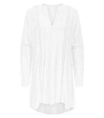 Blue Vanilla White Chrochet Lace Trim Tunic Dress New Look