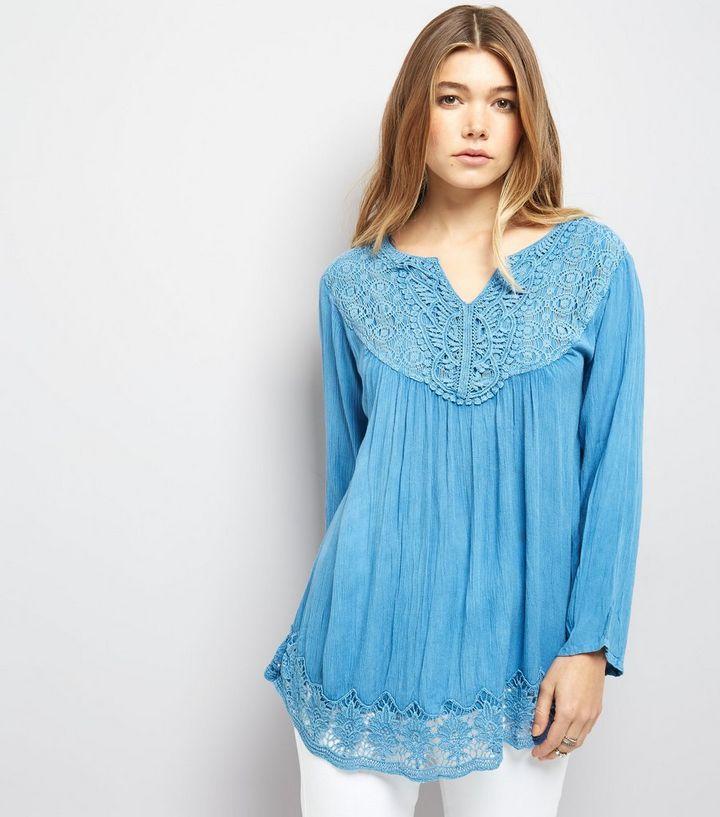 8f5ccab1563bad Blue Vanilla Blue Crochet Lace Trim Flared Sleeve Top | New Look
