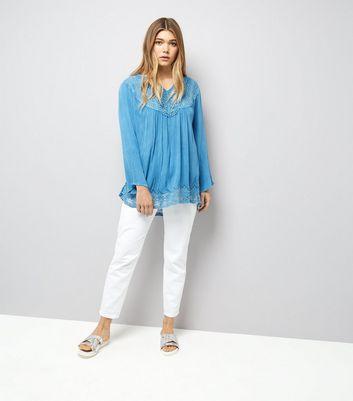 Blue Vanilla Blue Crochet Lace Trim Flared Sleeve Top New Look