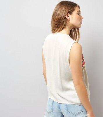 Blue Vanilla Cream Aztec Detail Tie Front Waistcoat New Look