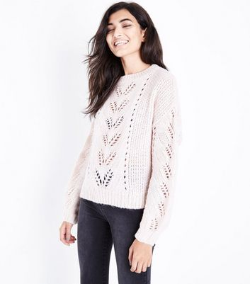 Shell Pink Pointelle Knit Balloon Sleeve Jumper New Look