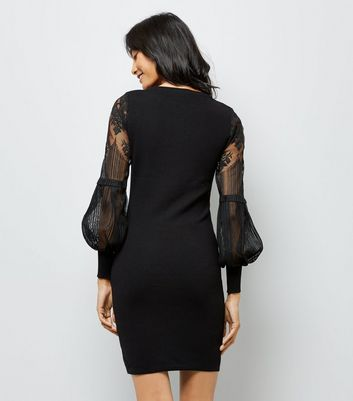 Black Lace Balloon Sleeve Dress New Look