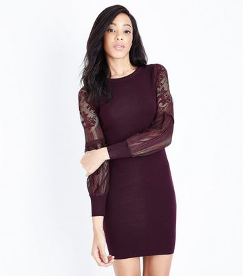 Burgundy Lace Balloon Sleeve Dress New Look