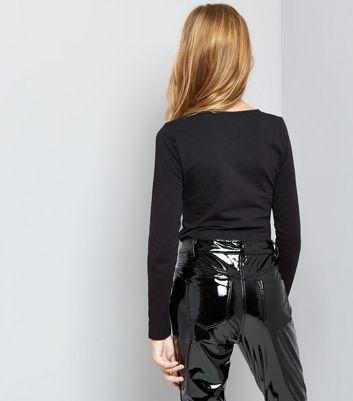 Teens Black Lattice Front Long Sleeve Top New Look