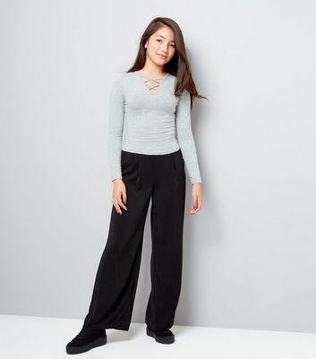 Teens Grey Lattice Front Long Sleeve Top New Look