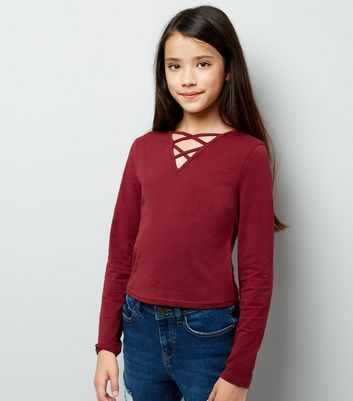 Teens Burgandy Lattice Front Long Sleeve Top New Look