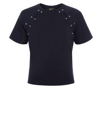 Teens Black Eyelet Lace Up T-Shirt New Look