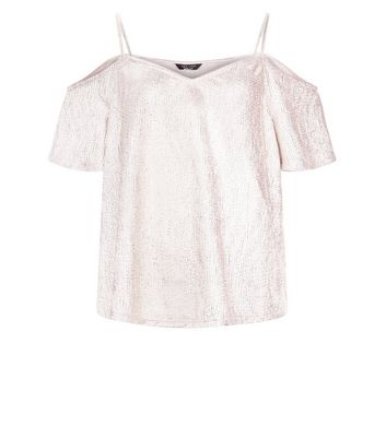 Shell Pink Shimmer Cold Shoulder Top New Look