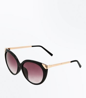 Black Frame Cateye Sunglasses New Look