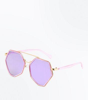 Dark Purple Pentagon Mirrored Lense Sunglasses New Look