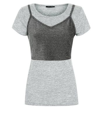 Grey Sparkle Bralet 2 in 1 T-Shirt New Look
