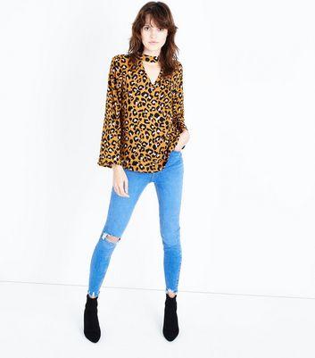 JDY Orange Leopard Cut Out Neck Blouse New Look