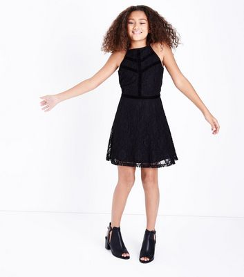 Teens Black Lace Velvet Trim Skater Dress New Look