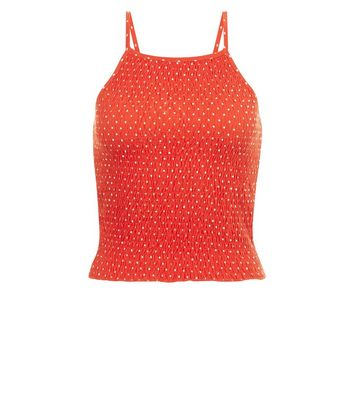 Red Polka Dot Shirred Cami New Look