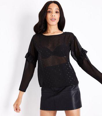 JDY Black Glitter Spot Mesh Frill Sleeve Blouse New Look