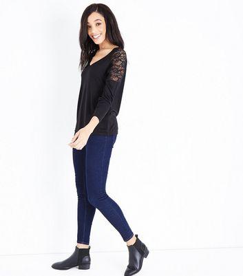 JDY Black Lace Trim Shoulder Top New Look