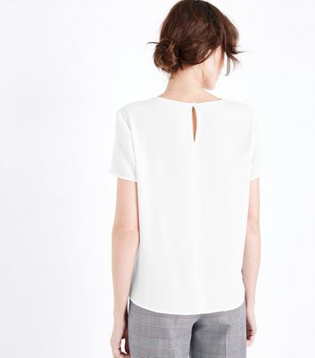 JDY White Placket Front Top New Look