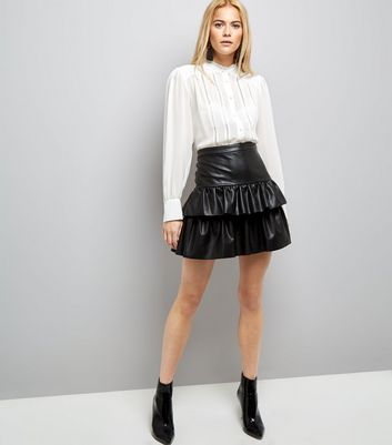 JDY Black Double Frill Leather-Look Skirt New Look