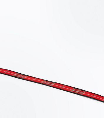 Red Tartan Ribbon Choker New Look
