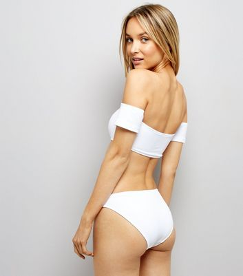 White Ribbed Bikini Bottoms New Look