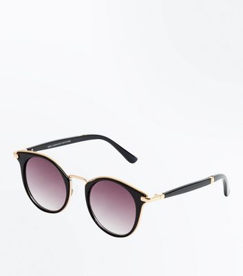 Black Gold Detail Sunglasses New Look