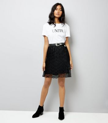 JDY Black Pleated Lace Skirt New Look