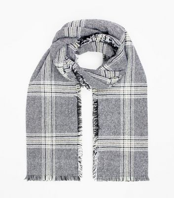 Black Check Oversized Scarf New Look