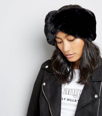 Black Teddy Faux-Fur Twist Headband New Look