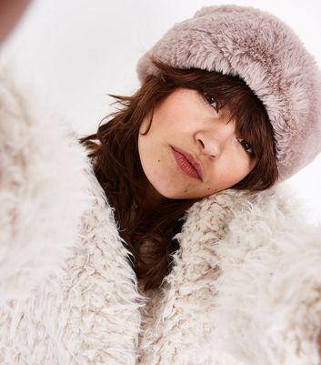Mink Faux Fur Twisted Headband New Look