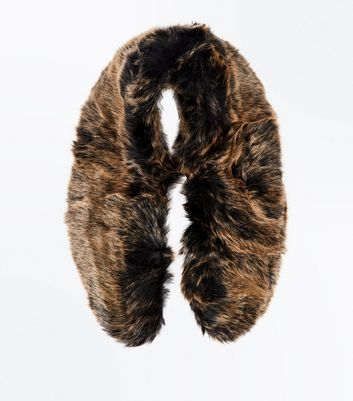 Tan Faux Fur Collar New Look
