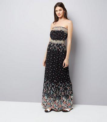 Apricot Black Floral Print Bandeau Maxi Dress New Look