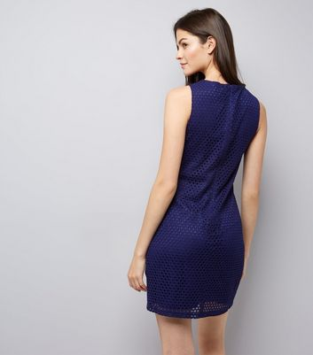 Apricot Navy Geometric Lace Dress New Look
