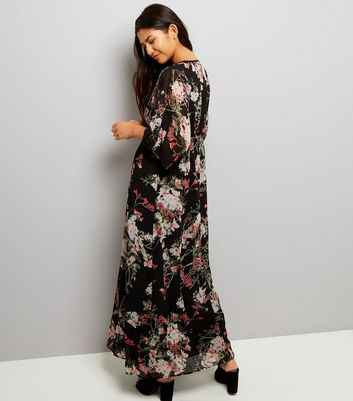Apricot Black Floral Print Maxi Dress New Look