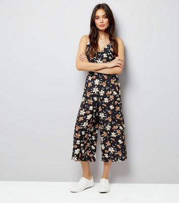 Mela Navy Floral Culotte Jumpsuit New Look
