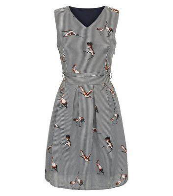 White Crane Print Striped Skater Dress New Look