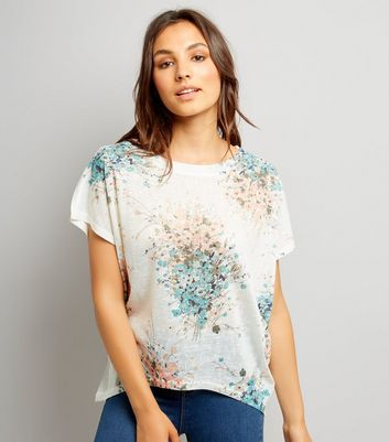 Apricot Blue Wild Flower Top New Look