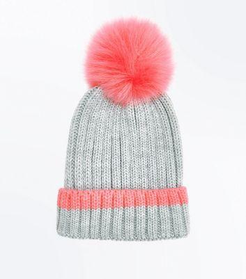 Pink Trim Faux Fur Pom Pom Bobble Hat New Look
