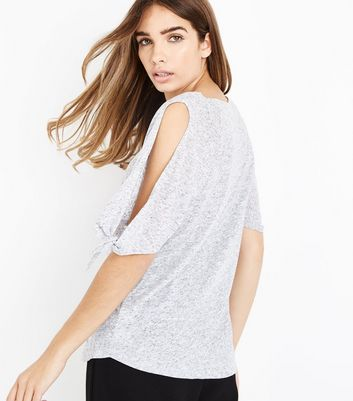 Grey Marl Tie Sleeve Cold Shoulder T-Shirt New Look