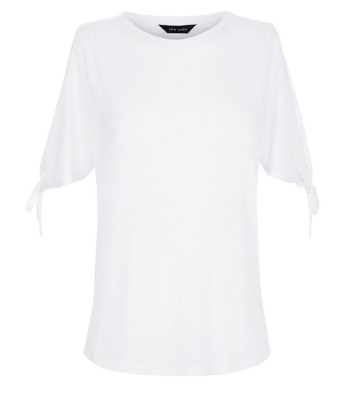 fb9ecd6dae2ffb Home · White Tie Sleeve Cold Shoulder T-Shirt. ×. ×. ×. Shop the look