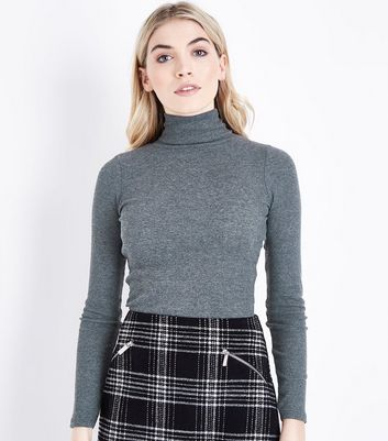 Dark Grey Ribbed Funnel Neck Top New Look