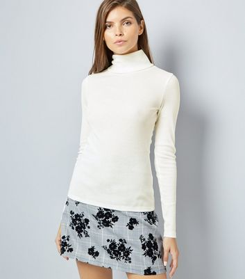 White Ribbed Funnel Neck Top New Look
