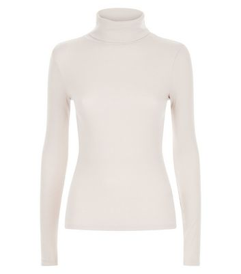 Light Brown Ribbed Funnel Neck Top New Look