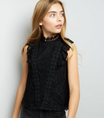 Teens Black Frill Lace Sleeveless Top New Look