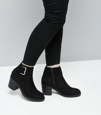Teens Black Suedette Buckle Boots New Look