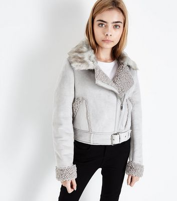 Teens Light Grey Faux Shearling Lined Aviator Jacket New Look