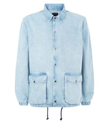 Light Blue Denim Coach Jacket New Look