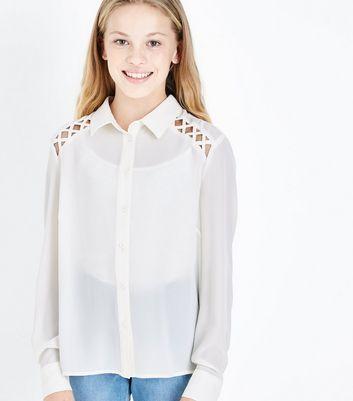 Teens Cream Lattice Raglan Sleeve Shirt New Look