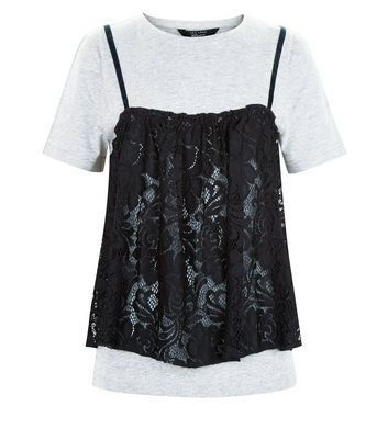 Teens Grey Lace Overlay T-shirt New Look