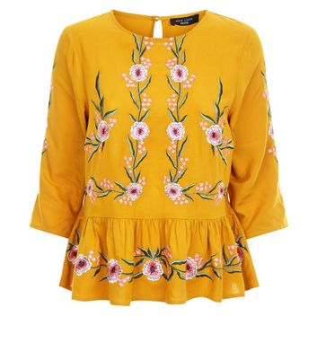 Petite Yellow Floral Embroidered Peplum Hem Top New Look